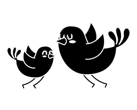 美しい飛行鳥素敵な動物ベクトルイラスト黒と白のデザイン