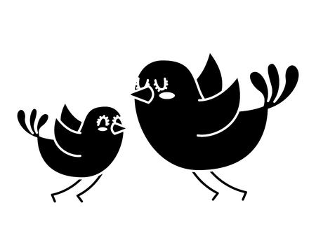 beautiful flying birds lovely animal vector illustration black and white design Ilustração