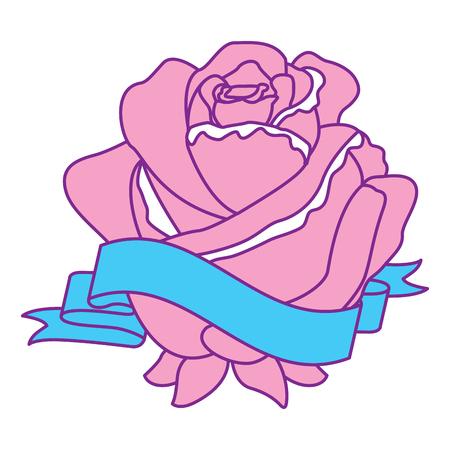 rose flower ribbon decoration delicate vector illustration pink and blue design