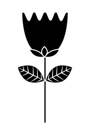 flower tulip stem petals decoration vector illustration black and white design Illustration