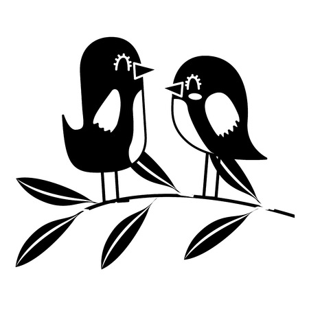 cute couple birds together in tree branch vector illustration black and white design