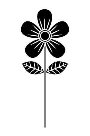 Flower stem petals decoration image vector illustration black and white design Illustration