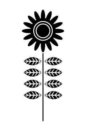 flower stem petals decoration image vector illustration black and white design
