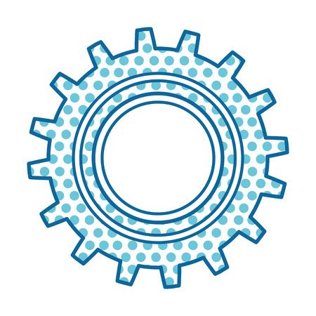 Blue dotted machine gear illustration on isolated background Ilustracja