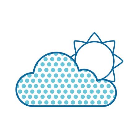 太陽イラストの青い点線雲  イラスト・ベクター素材