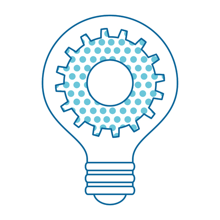 Bulb light idea with dotted gear inside illustration