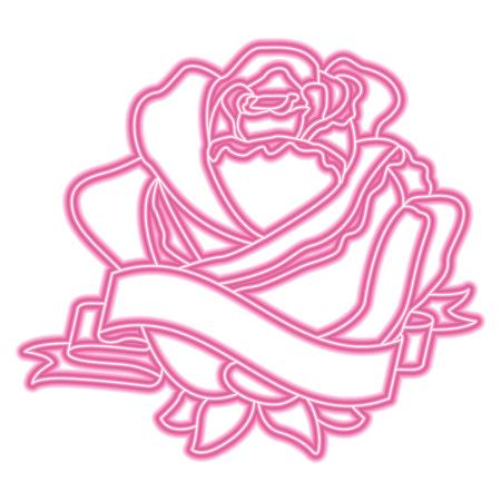 Progettazione al neon delicata dell'illustrazione di vettore della decorazione del nastro del fiore rosa Archivio Fotografico - 96555962