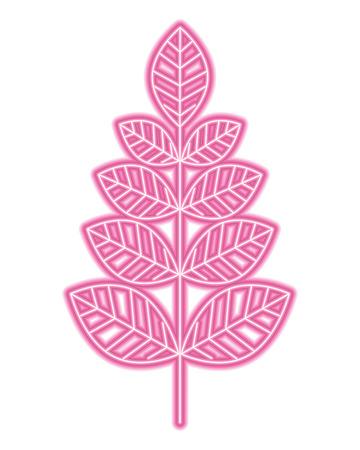 leaves branch decoration natural image vector illustration neon design