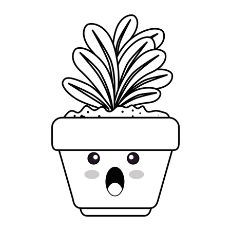 houseplant in pot terrified character vector illustration design Ilustração
