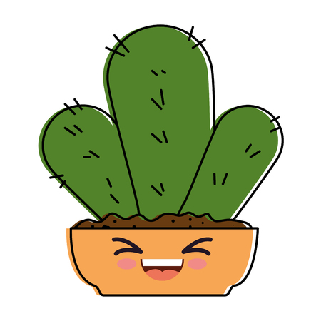 Houseplant in pot happy kawaii character vector illustration design