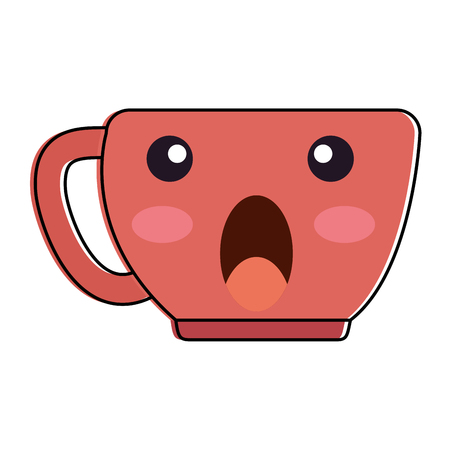 Cup with terrified face kawaii character vector illustration design