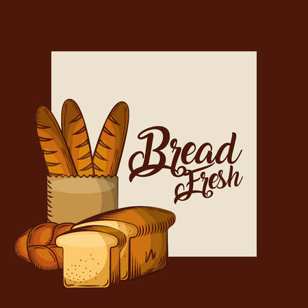 bread fresh baguette in paper bag whole and toasts bakery poster vector illustration