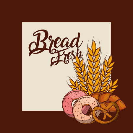 Bread fresh donuts pretzel whole wheat bakery poster vector illustration.