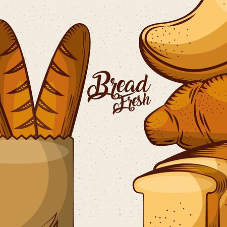 bread fresh baguette in paper bag toasts whole assortment bake poster vector illustration Иллюстрация