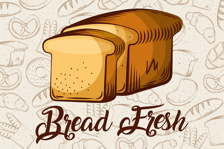 bread fresh sliced toasts bakery background vector illustration