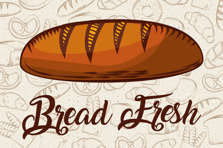 bread fresh whole bakery background vector illustration