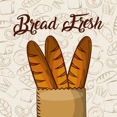 bread fresh baguette in paper bag bakery background vector illustration Иллюстрация