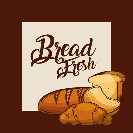 bread fresh sliced toast croissant bakery poster vector illustration Illustration