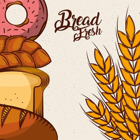 bread fresh donut croissant wheat assortment bake poster vector illustration  イラスト・ベクター素材