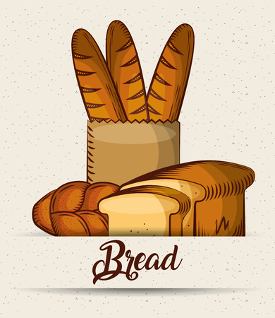 bread baguette in paper bag toasts croissant poster vector illustration