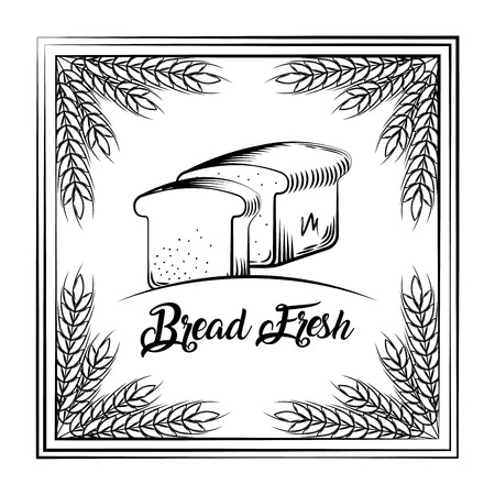 bread fresh vintage slice toasts frame wheat decoration vector illustration