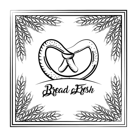 Bread fresh pretzel vintage frame wheat decoration vector illustration. Ilustrace