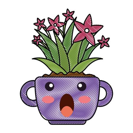 houseplant in pot terrified kawaii character vector illustration design