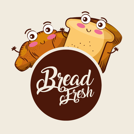 Cute bread fresh croissant toast cartoon food label vector illustration.. Ilustração