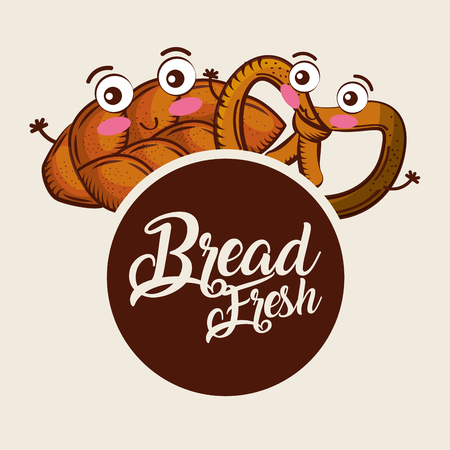 bread fresh whole pretzel cartoon food label vector illustration  イラスト・ベクター素材