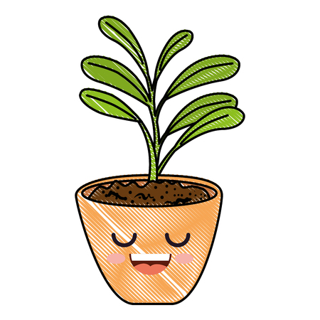 houseplant in pot happy character vector illustration design