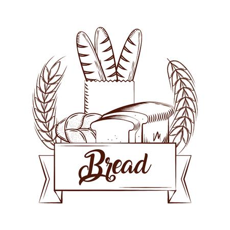 bread baguettes slice toasts bake tasty banner  vintage emblem vector illustration