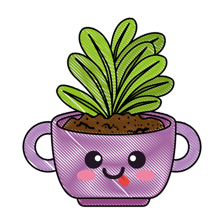 houseplant in pot with tongue out character vector illustration design