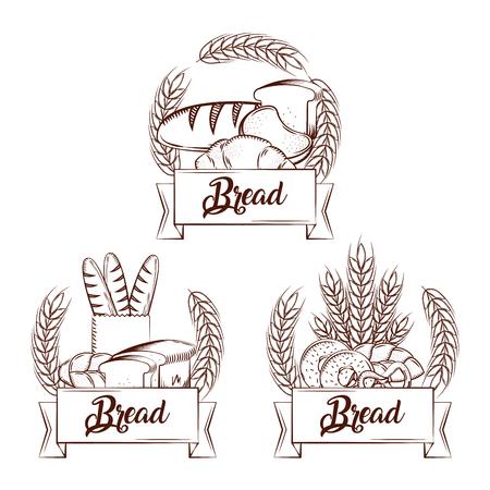 Bread fresh set. Croissant baguette whole, donut, pretzel. Banner vintage vector illustration.