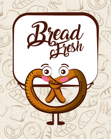 Cute bread fresh pretzel cartoon bake background vector illustration.
