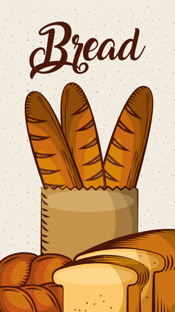 bread fresh bakery baguette toast vertical banner vector illustration Illustration