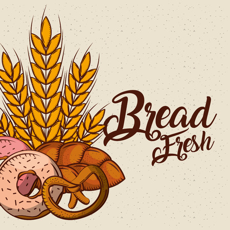 bread fresh bakey tasty products donut pretzel wheat vector illustration Illustration