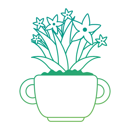 beautiful houseplant with flowers in pot vector illustration design