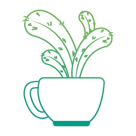 beautiful cactus houseplant in pot vector illustration design Imagens - 96575852