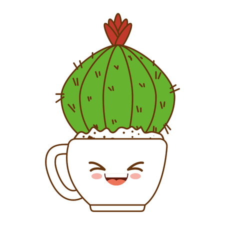 houseplant in pot happy kawaii character vector illustration design