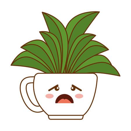 houseplant in pot sad kawaii character vector illustration design Illustration