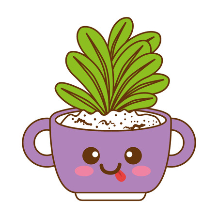 houseplant in pot with tongue out kawaii character vector illustration design