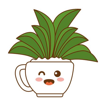 houseplant in pot happy character vector illustration design