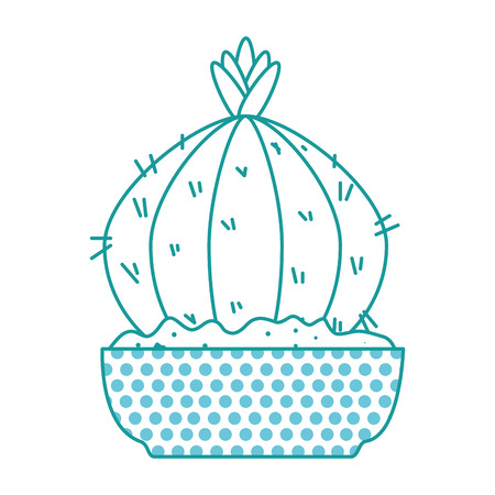 Beautiful cactus houseplant in pot vector illustration design.