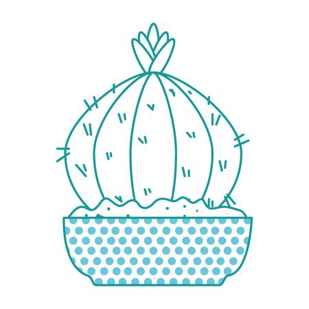Beautiful cactus houseplant in pot vector illustration design.
