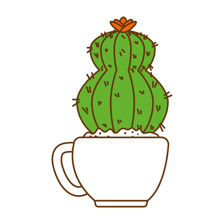 beautiful cactus houseplant in pot vector illustration design