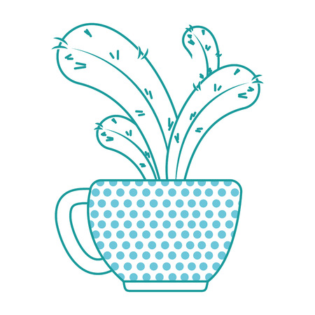 beautiful cactus houseplant in pot vector illustration design Imagens - 96578366