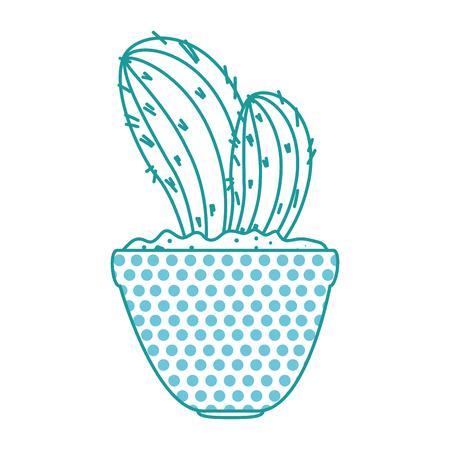 beautiful cactus houseplant in pot vector illustration design Imagens - 96578371