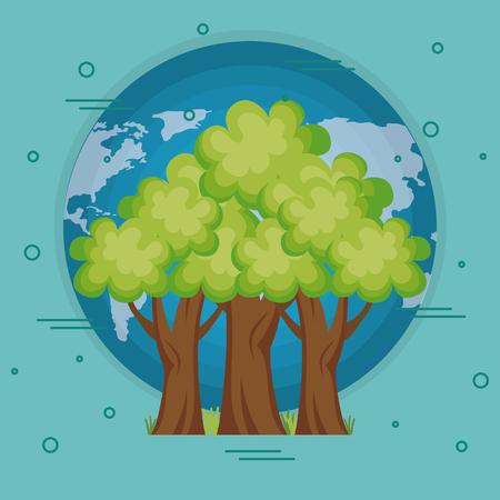 go green world planet vector illustration design