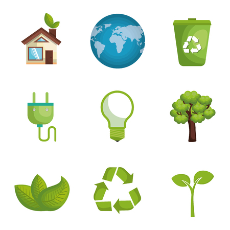 environmental and ecology set icons vector illustration design
