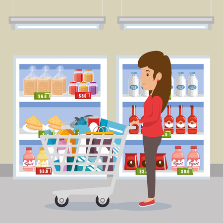A woman pushing supermarket pushcart full of groceries vector illustration design